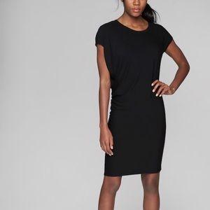 ATHLETA Draped Crew Dress -Black